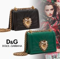 Dolce & Gabbana Casual Style Calfskin Chain Plain Party Style With Jewels