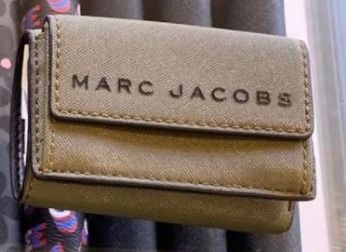 MARC JACOBS Folding Wallet Logo Unisex Plain Leather Folding Wallets