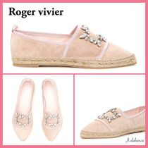 Roger Vivier Casual Style Suede Plain Party Style With Jewels Flats