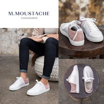 M. MOUSTACHE Rubber Sole Casual Style Suede Plain Leather Elegant Style