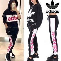 adidas Casual Style Sweat Street Style Bi-color Plain Cotton Long