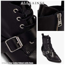 ALLSAINTS Lace-up Casual Style Blended Fabrics Bi-color Plain Leather