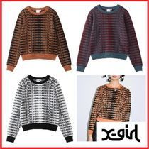 X-girl Cable Knit Street Style Logo Sweaters