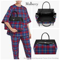 Mulberry Tartan Casual Style Calfskin Blended Fabrics A4 2WAY Leather