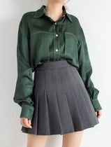 Short Wool Pleated Skirts Plain Mini Skirts