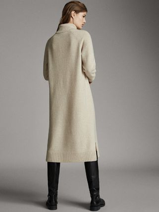 Casual Style Wool Cashmere Long Sleeves Medium Dresses