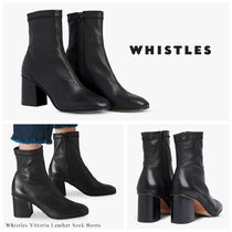 WHISTLES Casual Style Blended Fabrics Plain Leather Block Heels