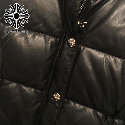 CHROME HEARTS CH PLUS Blended Fabrics Leather Handmade Down Jackets