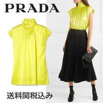 PRADA Silk Sleeveless Plain Elegant Style Tanks & Camisoles