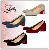Christian Louboutin Round Toe Velvet Plain Block Heels Party Style Office Style