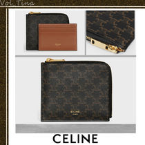 CELINE Triomphe Canvas Calfskin Lambskin Leather Long Wallet  Coin Cases