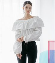 DINT Casual Style V-Neck Long Sleeves Plain Cotton Medium