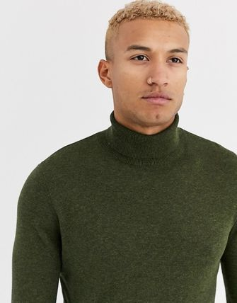 TOPMAN Knits & Sweaters Street Style Long Sleeves Plain Cotton Knits & Sweaters 16