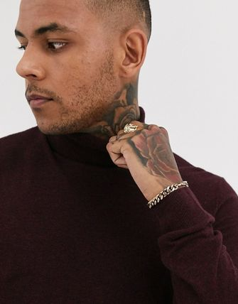 TOPMAN Knits & Sweaters Street Style Long Sleeves Plain Cotton Knits & Sweaters 19
