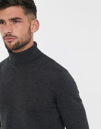 TOPMAN Knits & Sweaters Street Style Long Sleeves Plain Cotton Knits & Sweaters 10