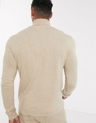 TOPMAN Knits & Sweaters Street Style Long Sleeves Plain Cotton Knits & Sweaters 12