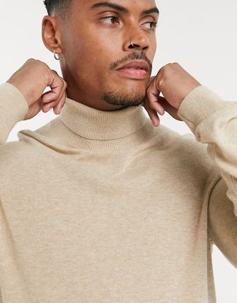 TOPMAN Knits & Sweaters Street Style Long Sleeves Plain Cotton Knits & Sweaters 13