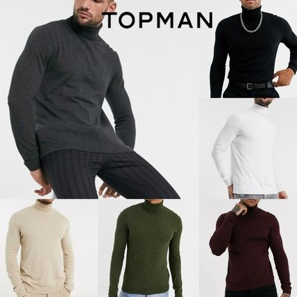 TOPMAN Knits & Sweaters Street Style Long Sleeves Plain Cotton Knits & Sweaters