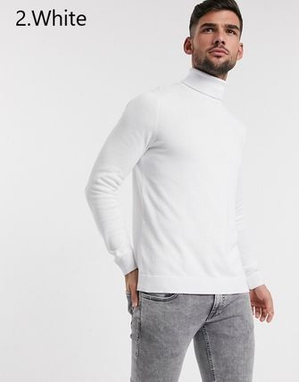 TOPMAN Knits & Sweaters Street Style Long Sleeves Plain Cotton Knits & Sweaters 5
