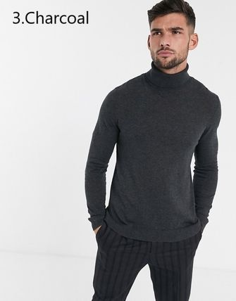 TOPMAN Knits & Sweaters Street Style Long Sleeves Plain Cotton Knits & Sweaters 8