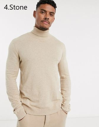TOPMAN Knits & Sweaters Street Style Long Sleeves Plain Cotton Knits & Sweaters 11