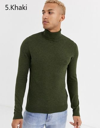 TOPMAN Knits & Sweaters Street Style Long Sleeves Plain Cotton Knits & Sweaters 14