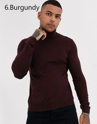 TOPMAN Knits & Sweaters Street Style Long Sleeves Plain Cotton Knits & Sweaters 17