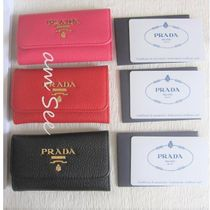 PRADA Plain Leather Logo Keychains & Bag Charms