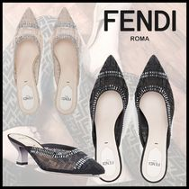 FENDI Monogram Blended Fabrics Pin Heels Party Style With Jewels