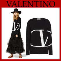 VALENTINO Crew Neck Casual Style Unisex Cashmere Street Style