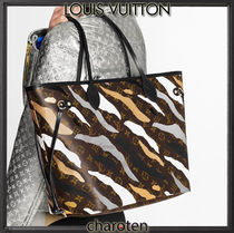 Louis Vuitton NEVERFULL Camouflage Monogram Unisex Calfskin Canvas Tassel A4 2WAY