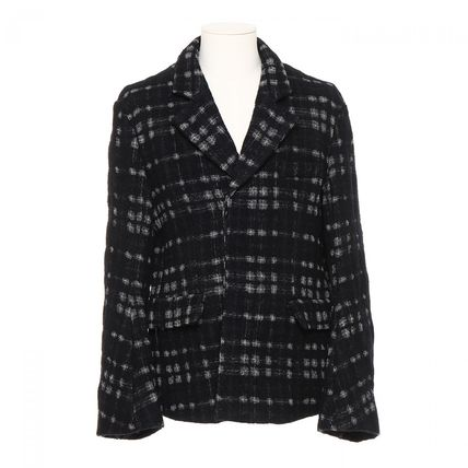 Short Other Plaid Patterns Wool Street Style Blazers Jackets