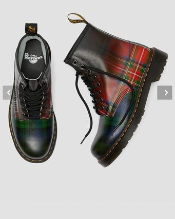 Dr Martens 2019 20AW Tartan Lace up Leather PVC Clothing Lace up Boots (25244602)