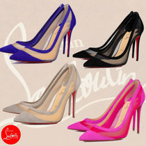 Christian Louboutin Casual Style Velvet Elegant Style Pointed Toe Pumps & Mules