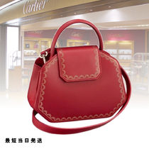 Cartier Plain Leather Elegant Style Shoulder Bags