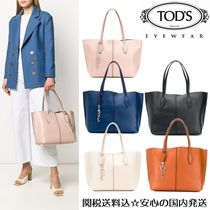 TOD'S Street Style A4 Plain Leather Office Style Elegant Style