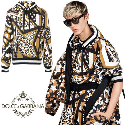 Dolce & Gabbana Sweatshirts Pullovers Star Leopard Patterns Street Style Long Sleeves