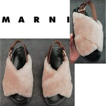 MARNI Open Toe Rubber Sole Fur Leather Party Style Elegant Style