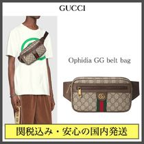 GUCCI Ophidia Monogram Unisex Canvas Street Style 2WAY Crossbody Bag
