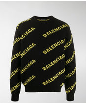 BALENCIAGA Crew Neck Pullovers Street Style Long Sleeves Logo Luxury