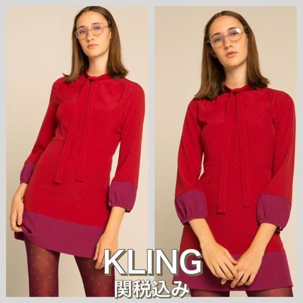 Short Casual Style Bi-color Long Sleeves Dresses