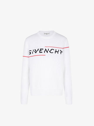 GIVENCHY Street Style Long Sleeves Plain Cotton Logo Luxury Sweaters