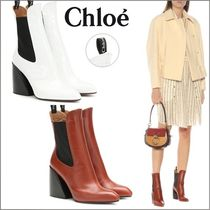 Chloe Casual Style Leather Office Style Elegant Style Chunky Heels
