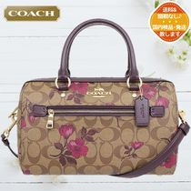 Coach Flower Patterns Canvas 2WAY Leather Crystal Clear Bags