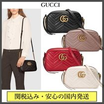 GUCCI GG Marmont Casual Style Chain Plain Leather Party Style Office Style