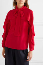 RED VALENTINO Silk Street Style Long Sleeves Plain Elegant Style