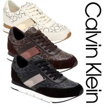 Calvin Klein Round Toe Rubber Sole Lace-up Casual Style Low-Top Sneakers