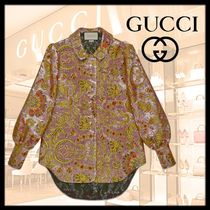 GUCCI Flower Patterns Puffed Sleeves Long Sleeves Shirts & Blouses