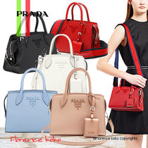 PRADA MONOCHROME  Saffiano 3WAY Plain Elegant Style Crossbody Handbags