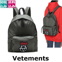 VETEMENTS Casual Style Unisex A4 Plain Backpacks